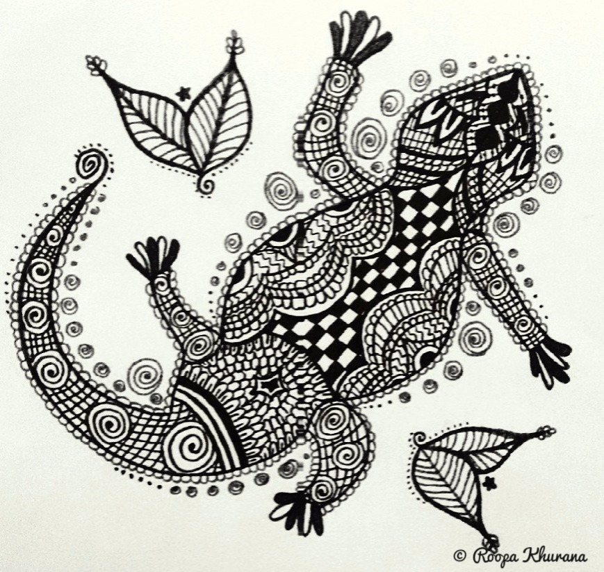 A black and white doodle of a lizard